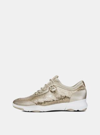 Pantofi sport aurii de dama cu paiete Geox Nebula