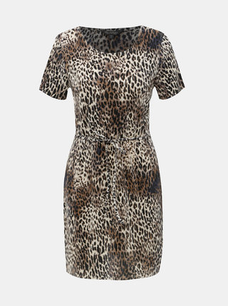 Hnědé šaty s leopardím vzorem Miss Selfridge