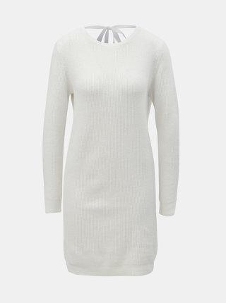 Krémové svetrové šaty s výstrihom na chrbte VERO MODA Doffy