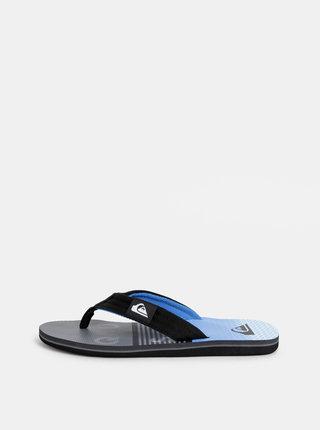 Papuci flip-flop barbatesti albastru-negru cu model Quiksilver Molokai