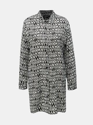 Camasa de noapte alb-negru cu model DKNY