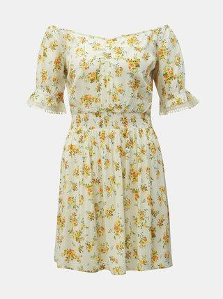 Krémové kvetované šaty Miss Selfridge