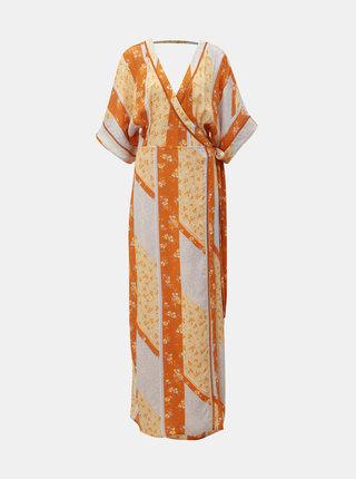 Oranžové květované zavinovací maxišaty Miss Selfridge