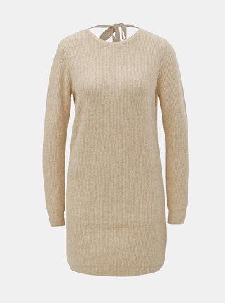Hnedé svetrové šaty s výstrihom na chrbte VERO MODA Doffy