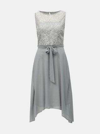 Svetlosivé šaty s čipkou Billie & Blossom
