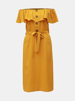 Horčicové šaty s odhalenými ramenami Dorothy Perkins