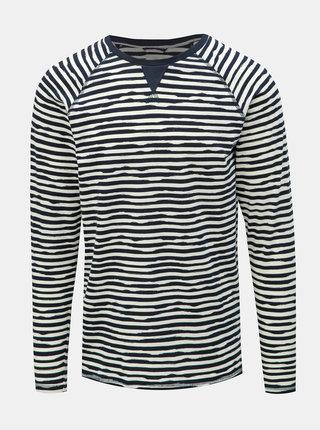 Bílo-modré pruhované tričko s dlouhým rukávem Dstrezzed