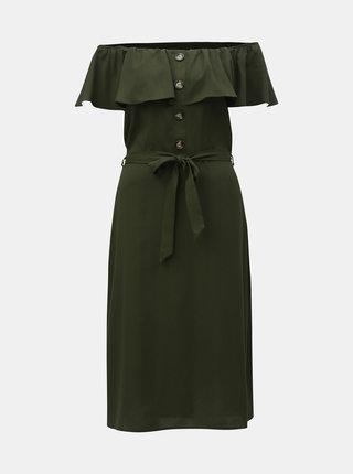 Tmavozelené šaty s odhalenými ramenami Dorothy Perkins
