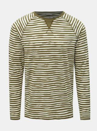 Bílo-zelené pruhované tričko s dlouhým rukávem Dstrezzed