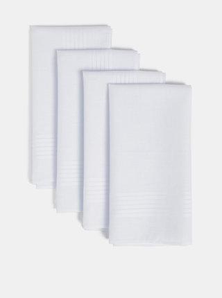 Sada čtyř bílých kapesníčků Burton Menswear London