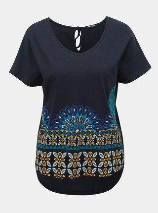 Modré tričko s výšivkou Desigual Uma