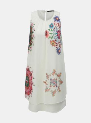 Rochie alba florala Desigual Sacha