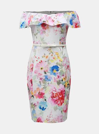 Bílé květované pouzdrové šaty s odhalenými rameny Dorothy Perkins