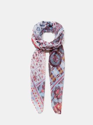 Červeno-modrý vzorovaný šátek Desigual Kendall