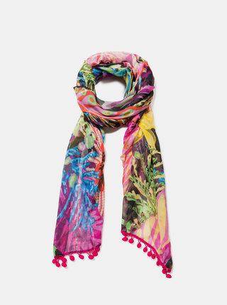 Zeleno-růžový vzorovaný šátek s bambulemi Desigual Flowersin