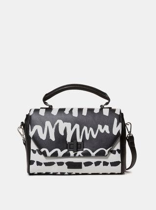 Bielo–čierna vzorovaná malá kabelka Desigual Organic