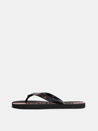 Papuci flip-flop barbatesti negri cu imprimeu Calvin Klein Underwear