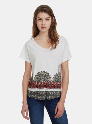 Bílé tričko s potiskem a výšivkou Desigual Uma