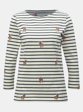 Krémové pruhované tričko s motívom psov Tom Joule Harbour