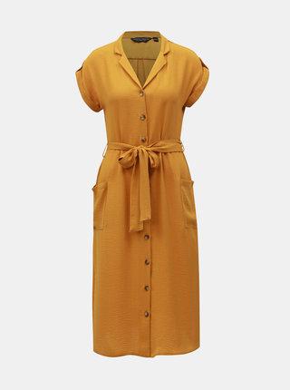 Hořčicové košilové šaty Dorothy Perkins