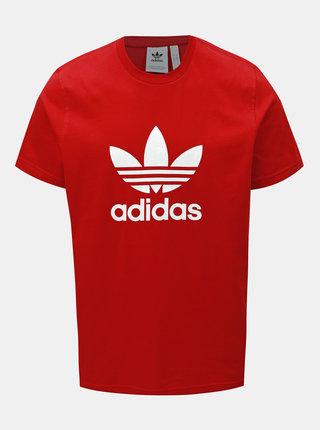 Červené pánske tričko s potlačou adidas Originals Trefoil