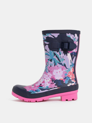 Cizme de ploaie roz-albastru florale de dama Tom Joule Molly