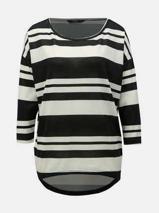 Tricou alb-negru lejer in dungi cu maneci 3/4 ONLY Elcos