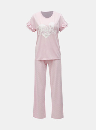 Růžové žíhané dvoudílné pyžamo s potiskem M&Co