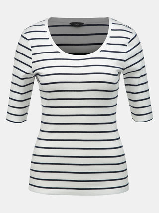 Biele pruhované basic tričko M&Co