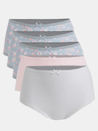 Sada pěti kalhotek v růžovo-modré barvě M&Co