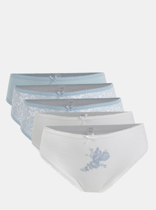 Set de 5 chiloti alb-albastru M&Co