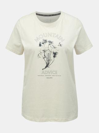 Krémové dámske tričko s potlačou Maloja Barbla