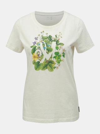 Krémové dámske tričko s potlačou Maloja Schombrina