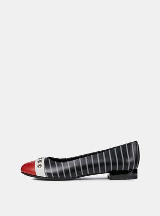 Čierne pruhované kožené baleríny Geox Wistrey
