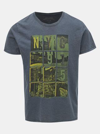 Tricou albastru inchis slim fit cu imprimeu Jack & Jones Dylan