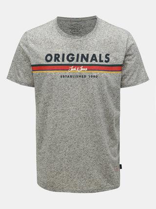 Svetlosivé melírované regular fit tričko s prímesou ľanu Jack & Jones Tuco