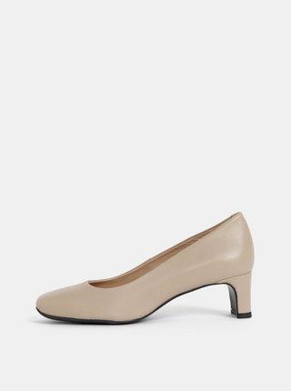 Pantofi bej din piele Geox Vivyanne