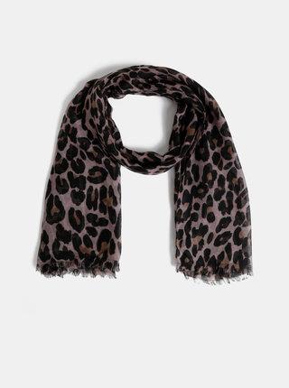 Esarfa maro-negru cu motiv leopard Pieces Carrie