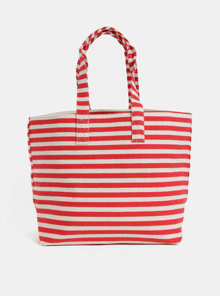 Krémovo–červená pruhovaná plážová taška Pieces Barbaro
