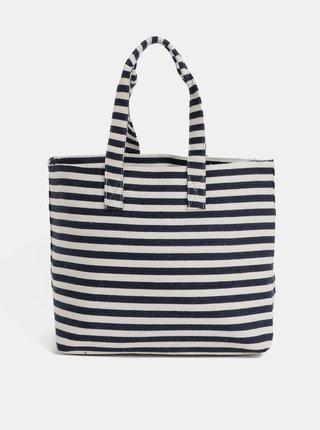 Krémovo–modrá pruhovaná plážová taška Pieces Barbaro