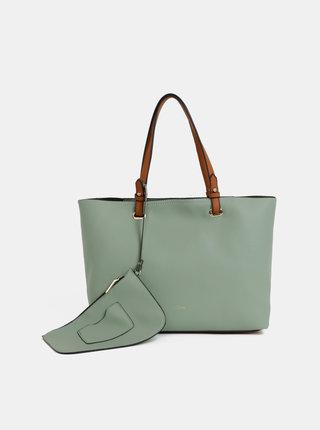 Geanta pentru shopping verde deschis cu portofel 2 in 1 Gionni Shelly