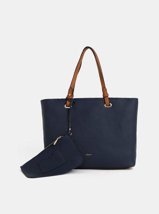 Geanta pentru shopping albastru inchis cu portofel 2 in 1 Gionni Shelly