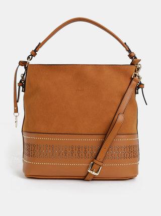 Hnedá kabelka s perforovaným detailom Gionni Lena