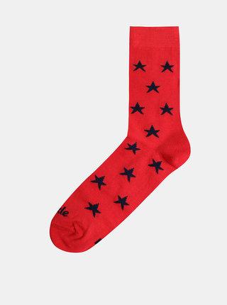 Červené vzorované ponožky Fusakle Hviezda imperialista