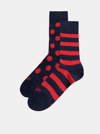 Červeno-modré vzorované ponožky Fusakle Krvavá noc