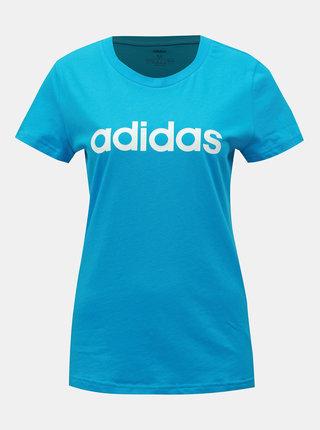 Modré dámske slim fit tričko s potlačou adidas CORE