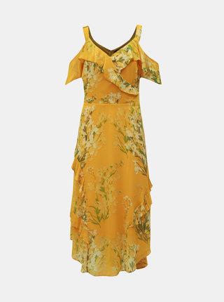 Žluté květované šaty s volány Dorothy Perkins