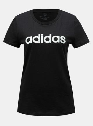 Čierne dámske slim fit tričko s potlačou adidas CORE