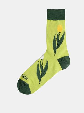 Světle zelené dámské květované ponožky Fusakle Tulipán