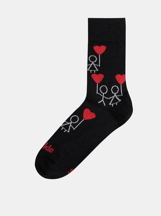 Čierne dámske vzorované ponožky Fusakle Frajeri